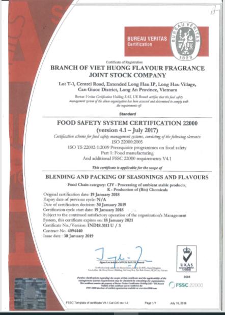 VIET HUONG RECEIVED FSSC 22000 CERTIFICATION